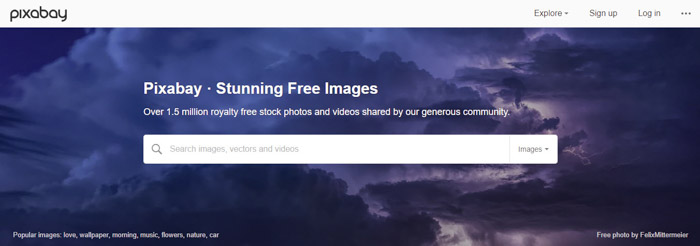 Screenshot of Pixabay homepage/search bar - Free Stock Photo sites