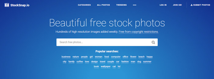 Screenshot of Stock snap homepage/search bar - Best Stock Photo sites