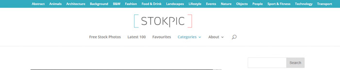 Screenshot of Stokpic homepage/search bar - Free Stock Photo sites