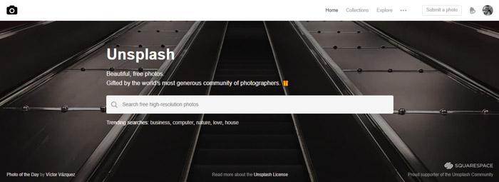 Screenshot of Unsplash homepage/search bar - Best Stock Photo sites