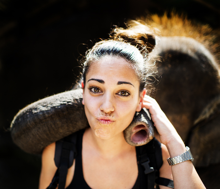 Playful portrait of a girl with an elephant against a black background for photography