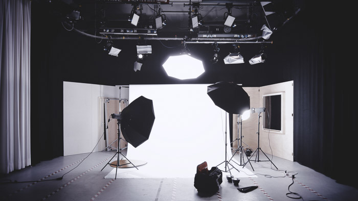 Studio setup for a boudoir photo shoot