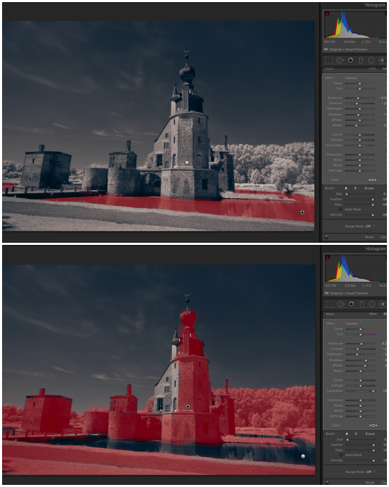 Split screen shot using the brush tool in Lightroom for infrared photography editing