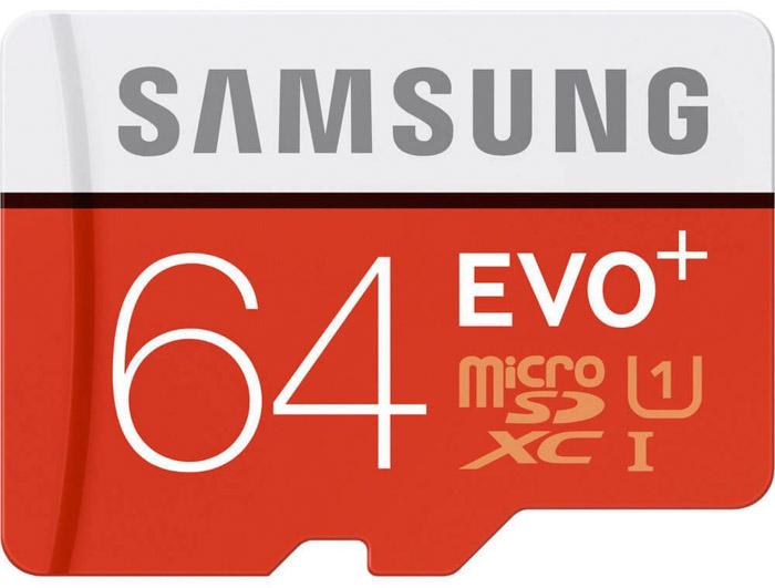 A Samsung SDXC card on white background