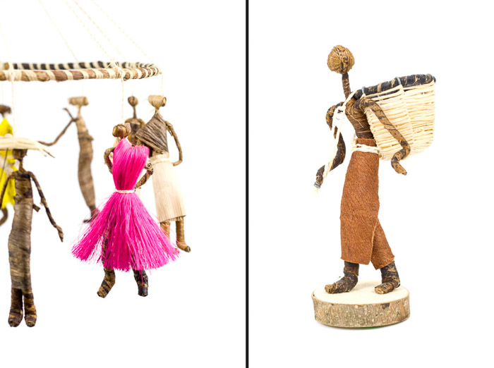 A product photography diptych of handmade dolls