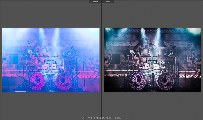 Diptych photos of a drumset onstage before and after concert photography editing in lightroom