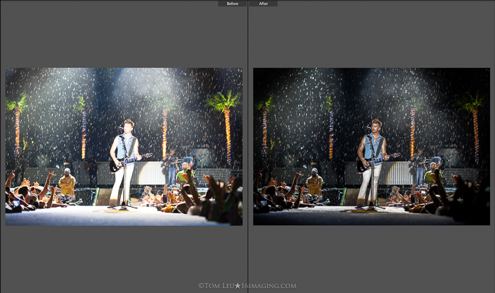 Diptych photos of a guitarist onstage before and after concert photography editing in lightroom