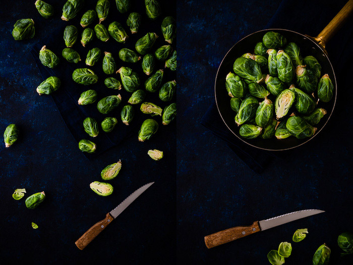 Overhead food photography diptych showing brussel sprouts in a dark and moody style