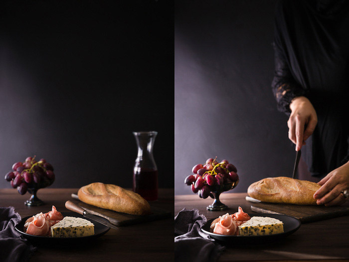 A food photography diptych showing a still life in a dark and moody style