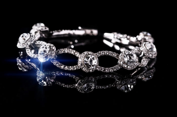 Diamond bracelet on black backgroubd