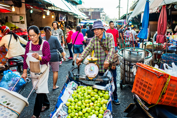 Busy fresh market scene at Muang Mai Market in Chiang Mai
