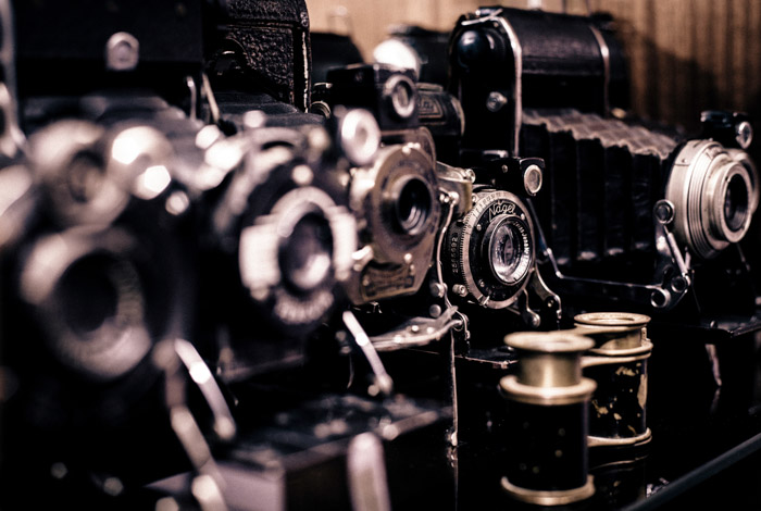 A range of old fashioned film cameras