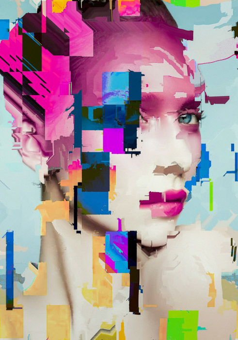 A colorful portrait with photo glitch effect