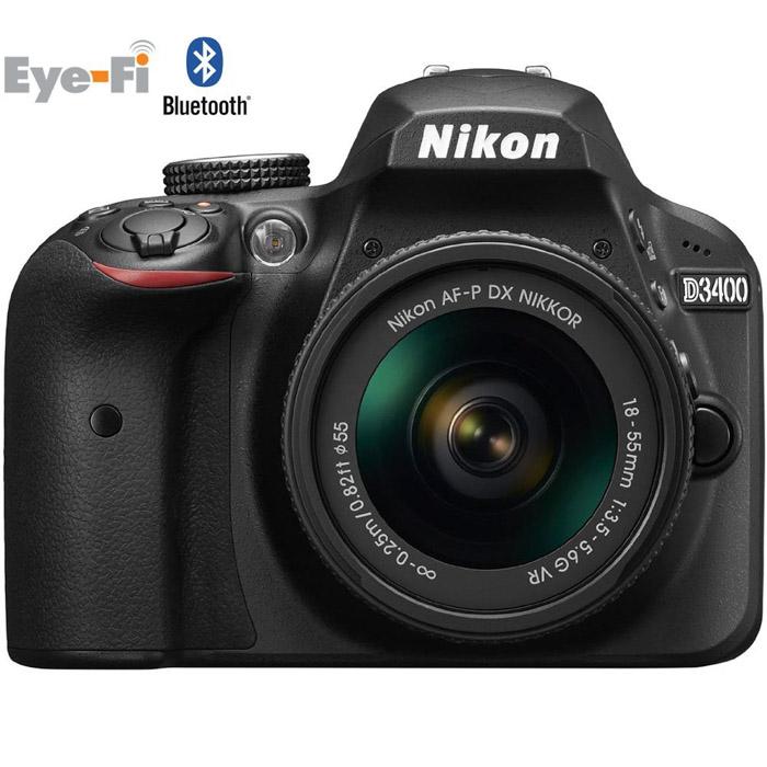 A Nikon D3400 camera on white background