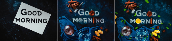A 3 photo progression of creating a cool food art shot featuring the typography message 'good morning' with sugar, fruit and other props