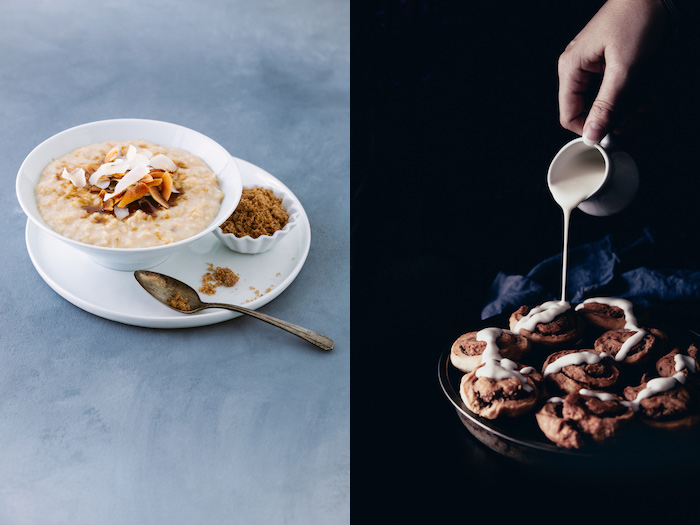 Beautiful diptych of porridge with fruit and a hand pouring cream over cookies