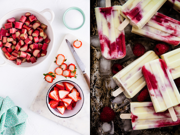 Luxurious overhead diptych photos of dessert with fruit