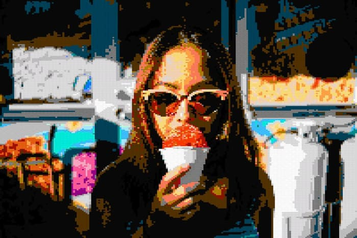 Portrait of a woman eating an ice cream cone with cool glitch art effect