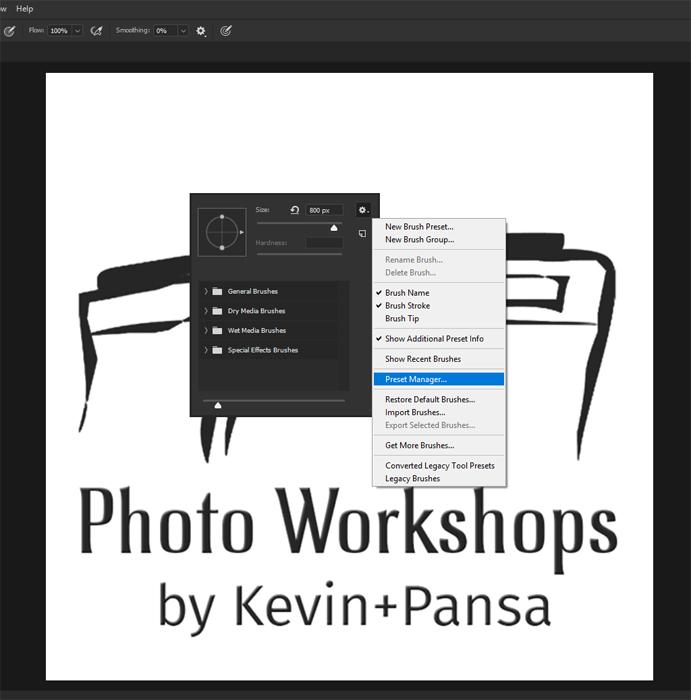 Screenshot of using a Watermark Brush on Photoshop