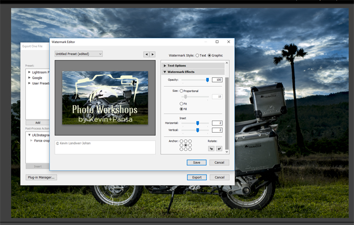 Adobe Lightroom screenshot of making a watermark on a photo of a silver motorbike with a stunning landscape behind