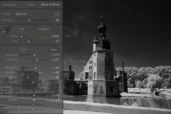 Screenshot of editing infrared photography on lightroom