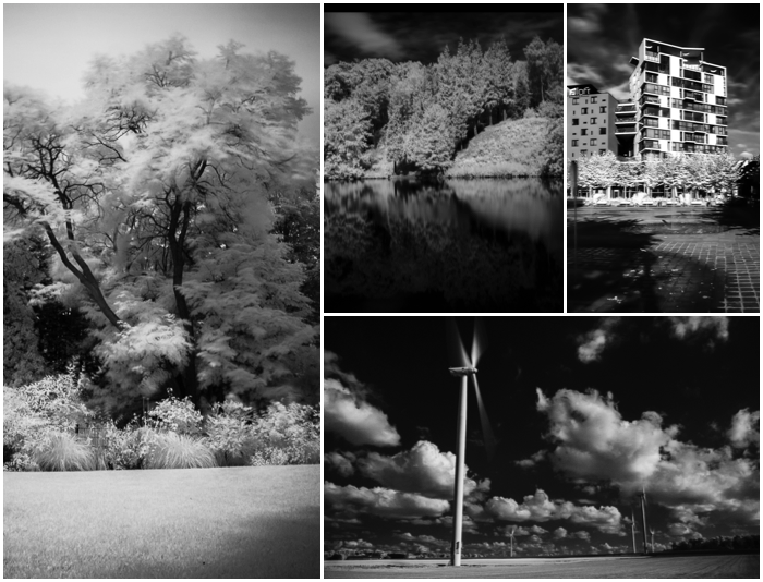 A grid showing different infrared landscape photography shots