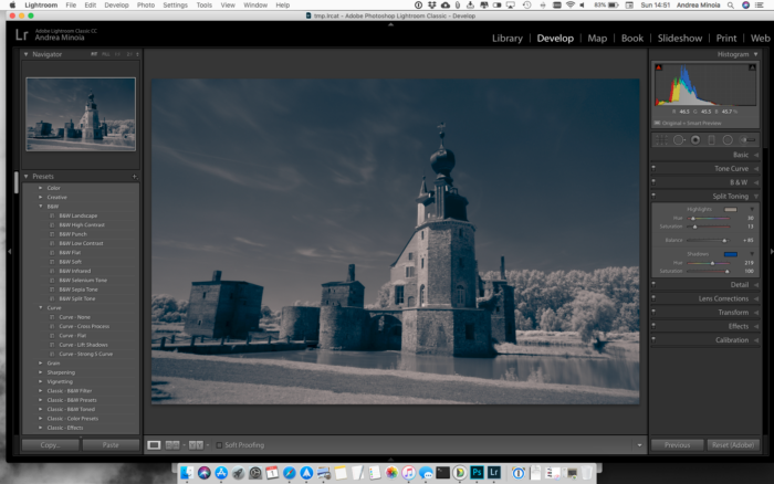 Screenshot of tweaking the setting in the Split Toning panel for editing infrared photos