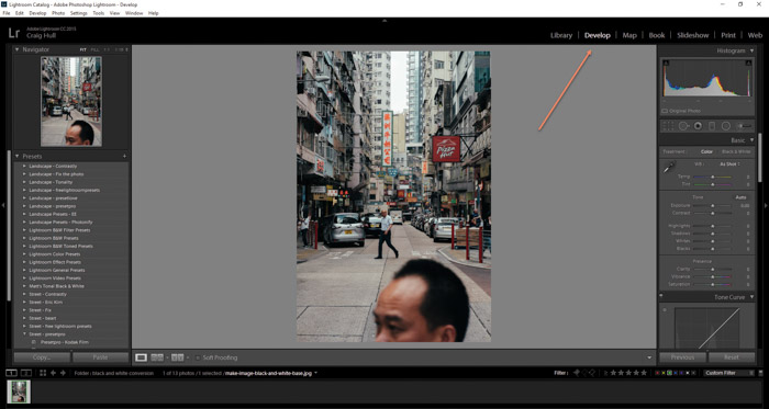 Screenshot of opening develop module to make image black and white on Lightroom