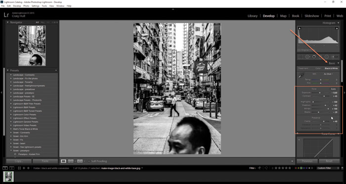 Screenshot of using develop module to make image black and white on Lightroom