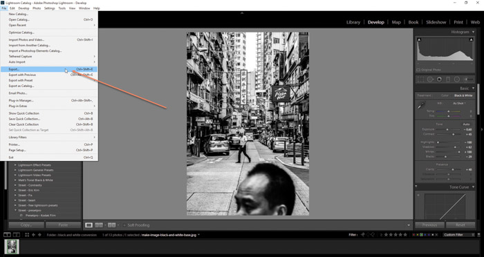 Screenshot of exporting your final photo after the process to convert an image black and white