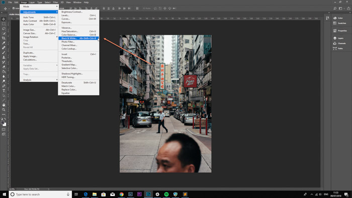 A screenshot of opening an image in Photoshop to convert to black and white