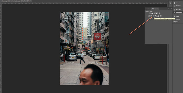 Screenshot of the adjustments button on Adobe Photoshop - make image black and white