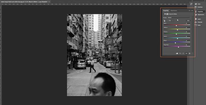 Screenshot of the colour sliders button on Adobe Photoshop - how to make an image black and white in photoshop