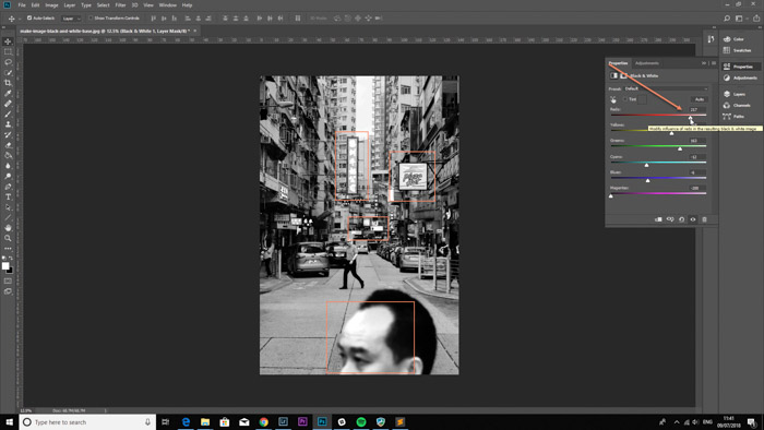 Screenshot of using clipping on Photoshop - make image black and white