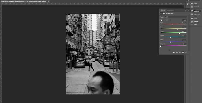 Screenshot of selecting settings to make image black and white on Photoshop