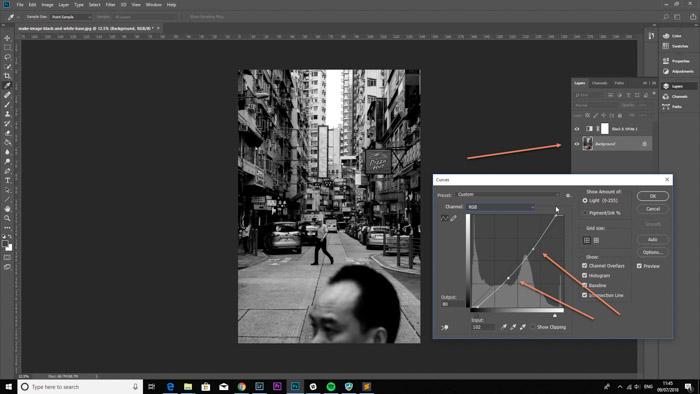 Screenshot of editing the tonal range to make image black and white on Photoshop