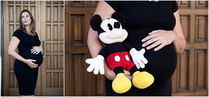 Diptych maternity photography of a pregnant woman in black, holding a mickey mouse teddy