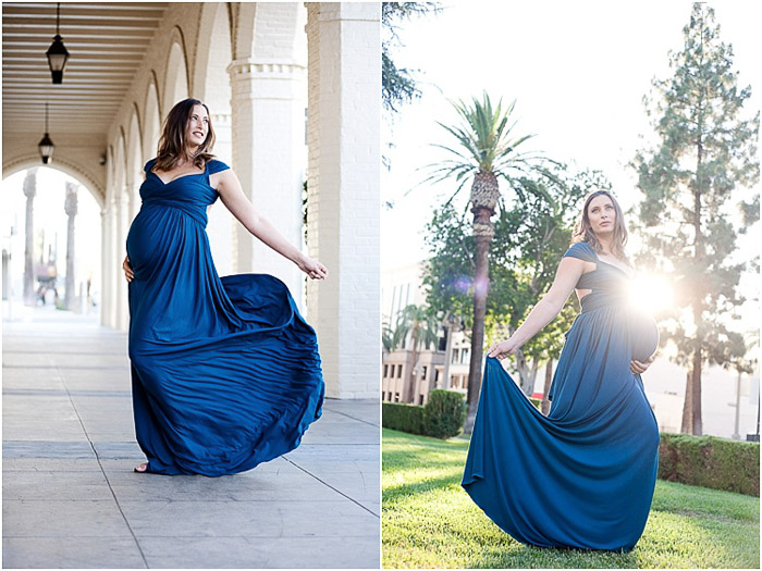 Diptych photo of a pregnant woman in blue evening dress in different maternity poses