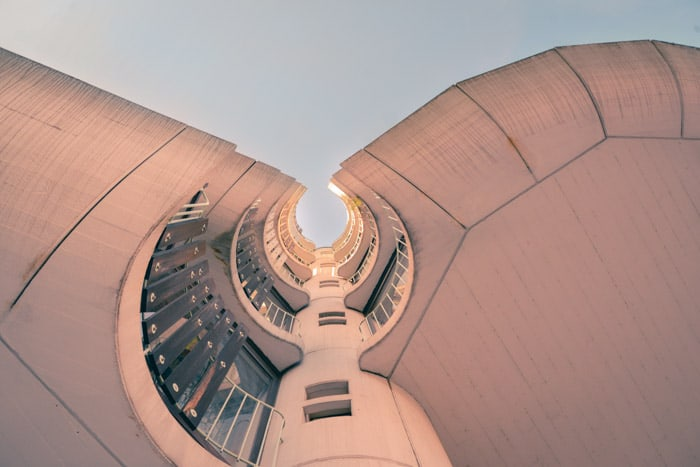Cool perspective in photography shot looking up at an interesting architectural view