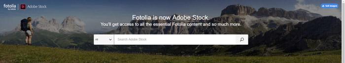 Captura de pantalla de la página de inicio de Fotolia