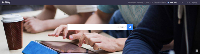 Screenshot of Alamy homepage website to sell photos online