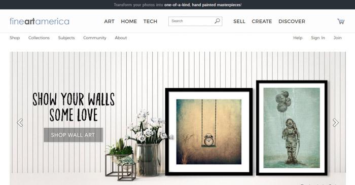A screenshot of Fine Art America homepage