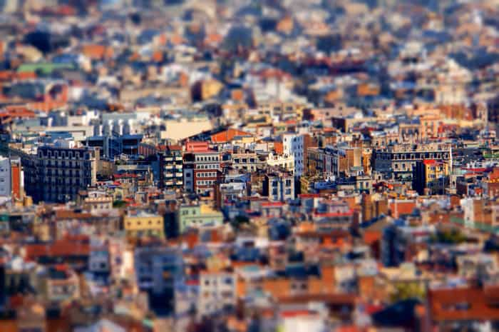 Overhead shot of a sprawling cityscape using tilt-shift photography