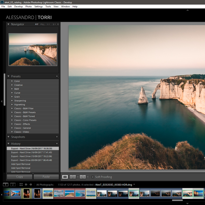 Screenshot of Lightroom default presets for photo editing