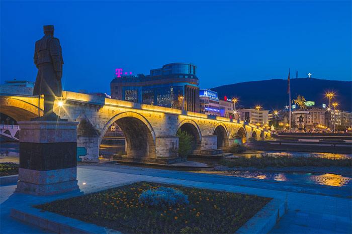 Photo of a bridge at night