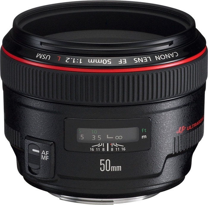 the Canon EF 50 mm f/1.2L USM nifty fifty lens