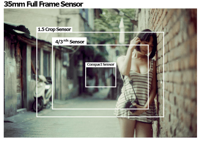 A portrait of a girl leaning against a wall with sensor size diagrams over the image
