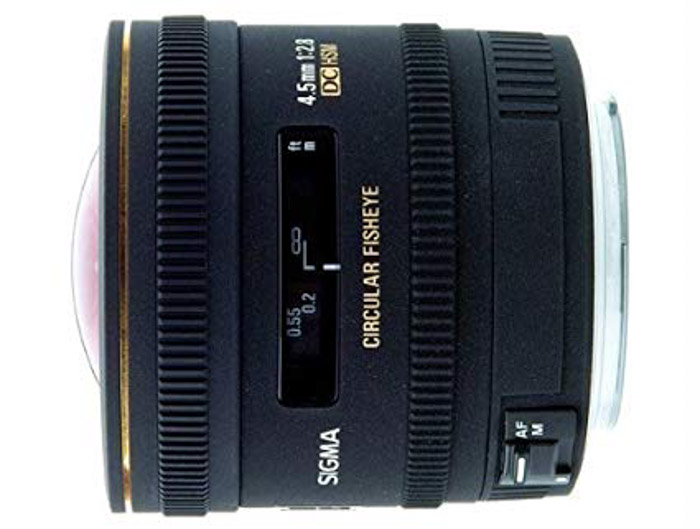 Sigma 4.5/2.8 EX DC Circular Fisheye lens on white background