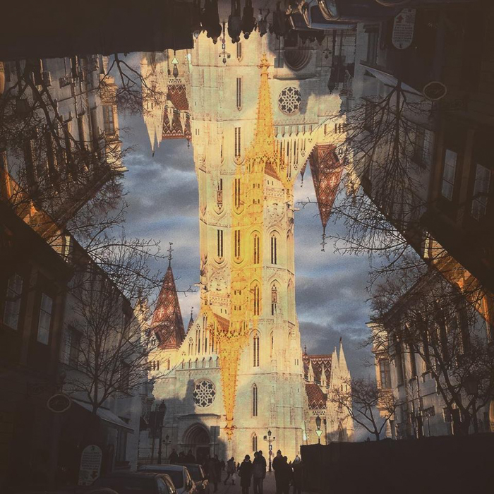 A double exposure image of a church