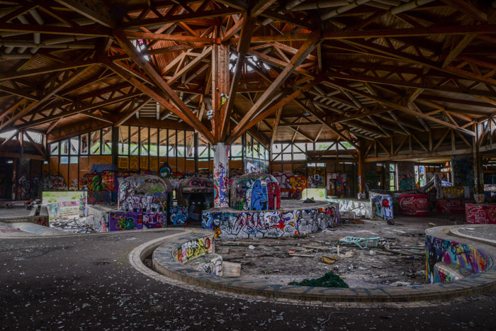 The interior of an abandoned festival area taken during urban exploration